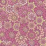 Roze retro krabbel bloemen naadloos patroon Royalty-vrije Stock Foto's