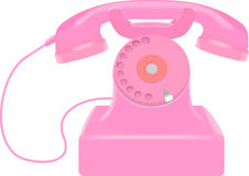 Roze retro telefoon vector illustratie