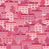 Roze rijtjeshuizen Stock Afbeeldingen