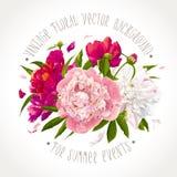Roze, rode en witte pioensamenstelling Stock Fotografie
