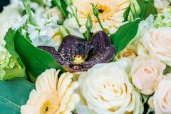 Roze Rozen en Gerbera Daisy Flowers Wedding Bouquet Stock Fotografie