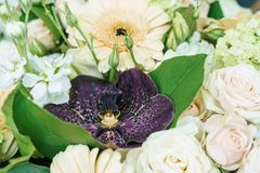 Roze Rozen en Gerbera Daisy Flowers Wedding Bouquet Royalty-vrije Stock Afbeeldingen