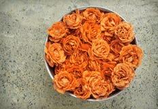 Roze rozen in kom Royalty-vrije Stock Foto's