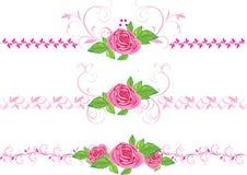 Roze rozen met ornament. Drie decoratieve grenzen Royalty-vrije Stock Afbeelding