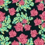 Roze rozen op een donker naadloos patroon als achtergrond Royalty-vrije Stock Foto's