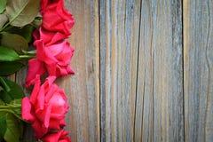 Roze rozen op houten achtergrond Stock Fotografie