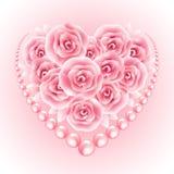 Roze rozen, parel en hart shap kader Vector illustratie Stock Fotografie