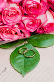 Roze rozenbloemen en trouwringen op groen blad, ambachtachtergrond Stock Foto