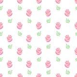 Roze rozenpatroon Naadloze behang roze rozen met bladeren op witte achtergrond Stock Afbeeldingen