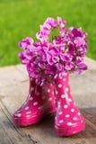 Roze rubberlaarzen stock afbeelding