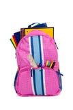 Roze rugzak met schoollevering stock foto's