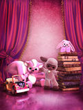 Roze ruimte met speelgoed en boeken Stock Afbeeldingen