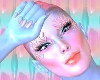 Roze samenvatting Het hoofdschot van de vrouw het gezicht en, sluiten omhoog Het digitale beeld van de kunstfantasie Stock Fotografie