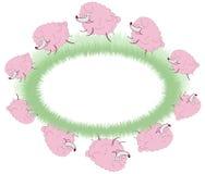 Roze schapen die over het gebied springen vector illustratie