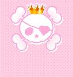 Roze Schedel met kroon Stock Afbeeldingen