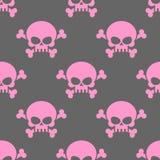 Roze schedel op een grijs naadloos patroon als achtergrond Hoofd van skele Royalty-vrije Stock Afbeeldingen