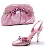 Roze schoen en zak Stock Foto's