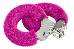 Roze sexy pluizige handcuffs close-up, het 3D teruggeven Royalty-vrije Stock Foto's
