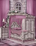 Roze slaapkamer royalty-vrije illustratie
