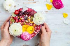 Roze Smoothie van Banaan en Forest Berries in de Kom met Ra royalty-vrije stock afbeeldingen