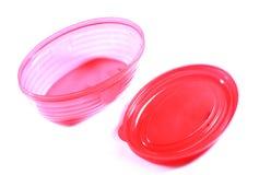 Roze snack plastic doos met GLB stock foto's