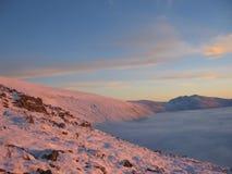 Roze sneeuw bij schemer, Schotse hooglanden stock afbeeldingen