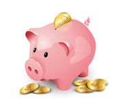 Roze spaarvarken Stock Fotografie