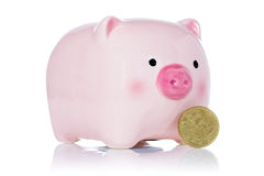 Roze spaarvarken en Eurocent vijftig Stock Foto's