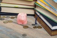 Roze spaarvarken met boeken en muntstukken op houten achtergrond Concept de financiering van onderwijs royalty-vrije stock fotografie