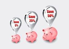 Roze spaarvarkenpictogrammen Stock Afbeelding