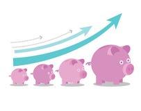 Roze spaarvarkens die in grootte met de groeipijlen stijgen Royalty-vrije Stock Fotografie