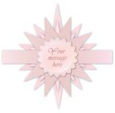 Roze steretiket. De kaart van de groet voor bithday jong geitje of partij Royalty-vrije Stock Afbeeldingen