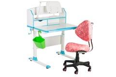 Roze stoel, blauwe schoolbank, groene mand en bureaulamp Stock Fotografie