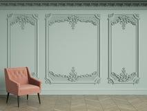 Roze stoel in klassiek uitstekend binnenland met exemplaarruimte royalty-vrije illustratie