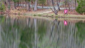 Roze stoel naast meer met mooie bezinningen over water stock afbeelding