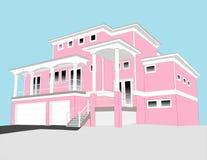 Roze strandhuis Stock Afbeeldingen
