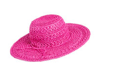 Roze Straw Hat Isolated op Wit Stock Afbeelding