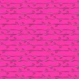 Roze strepen en bloemen naadloos patroon Stock Fotografie
