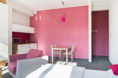 Roze studiohuis Stock Afbeelding