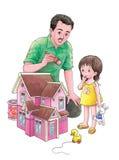 Roze stuk speelgoed huis royalty-vrije illustratie