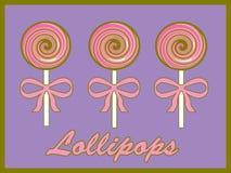 Roze swirly lollys Stock Afbeeldingen