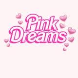 Roze tekstembleem - Achtergrond - Girly Illlustration - citeer op Witte achtergrond Royalty-vrije Stock Foto's