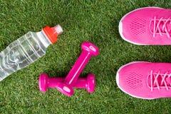 Roze tennisschoenen, domoren voor geschiktheid en een fles water, tegen de achtergrond van gras Stock Fotografie