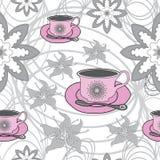 Roze Theekoppen en Bloemen op Abstract achtergrond-Tuin Theekransje Naadloos herhaal Patroonmonster vector illustratie