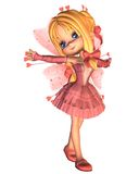 Roze Toon Valentine Fairy - 1 stock illustratie