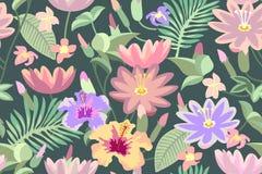 Roze tropische bloemen Naadloos vectorpatroon met botanische motieven royalty-vrije illustratie