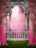 Roze tuin met gordijnen