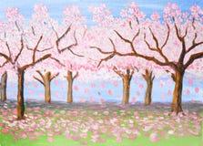 Roze tuin, olieverfschilderij Royalty-vrije Stock Afbeeldingen