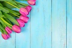 Roze tulpen op houten blauwe achtergrond Conceptievakantie, 8 Maart, Moeder` s Dag Vlak leg en kopieer ruimte Stock Afbeelding