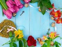 Roze tulpen op houten blauwe achtergrond Conceptievakantie, 8 Maart, Moeder` s Dag Vlak leg en kopieer ruimte royalty-vrije stock afbeelding